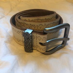 Flower Embossed Leather Belt with Silver Hardware
